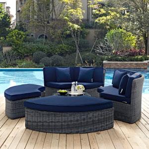 Summon Circular Outdoor Patio Sunbrella® Daybed in Canvas Navy