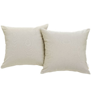 Convene Two Piece Outdoor Patio Pillow Set in Beige