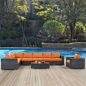 Summon 7 Piece Outdoor Patio Sunbrella® Sectional Set in Gray Tuscan