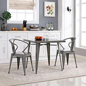 Alacrity Metal Dining Table in Gunmetal