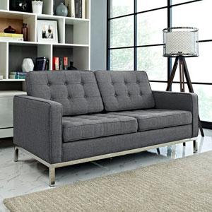 Loft Fabric Loveseat in Gray