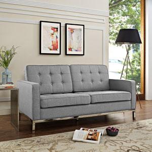 Loft Fabric Loveseat in Light gray