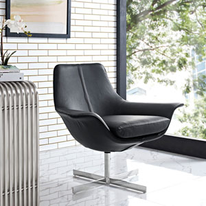 Release Bonded Leather Lounge Chair in Black