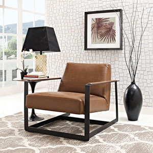 Seg Vinyl Accent Chair in Brown