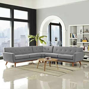 Modway Furniture Engage L Shaped Sectional Sofa In Azure