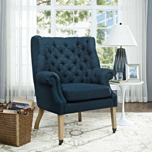 Chart Fabric Lounge Chair in Azure