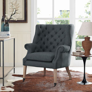 Chart Fabric Lounge Chair in Gray