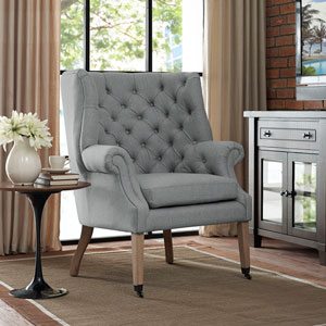 Chart Fabric Lounge Chair in Light Gray