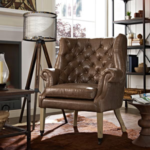Chart Vinyl Lounge Chair in Brown