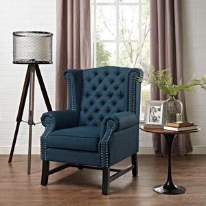 Steer Fabric Armchair in Azure