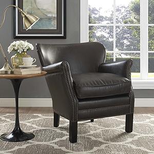 Key Upholstered Vinyl Armchair in Dark Brown