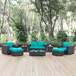 Convene 8 Piece Outdoor Patio Sofa Set in Espresso Turquoise