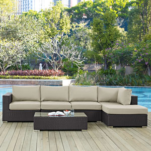 Convene 5 Piece Outdoor Patio Sectional Set in Espresso Beige