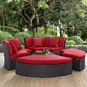 Convene Circular Outdoor Patio Daybed Set in Espresso Red