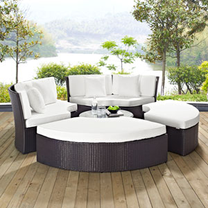 Convene Circular Outdoor Patio Daybed Set in Espresso White