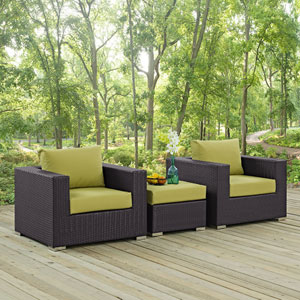 Convene 3 Piece Outdoor Patio Sofa Set in Espresso Peridot