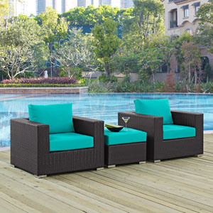 Convene 3 Piece Outdoor Patio Sofa Set in Espresso Turquoise