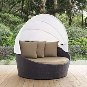 Convene Canopy Outdoor Patio Daybed in Espresso Mocha