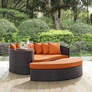 Convene Outdoor Patio Daybed in Espresso Orange
