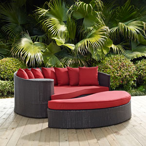 Convene Outdoor Patio Daybed in Espresso Red