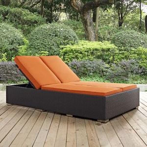 Convene Double Outdoor Patio Chaise in Espresso Orange