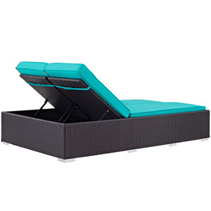 Convene Double Outdoor Patio Chaise in Espresso Turquoise