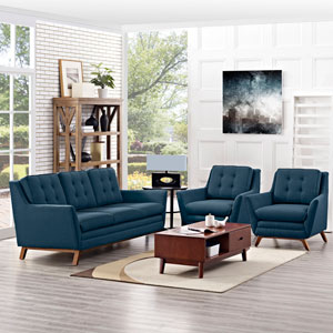 Beguile 3 Piece Fabric Living Room Set in Azure