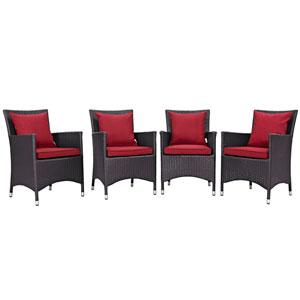 Convene 4 Piece Outdoor Patio Dining Set in Espresso Red