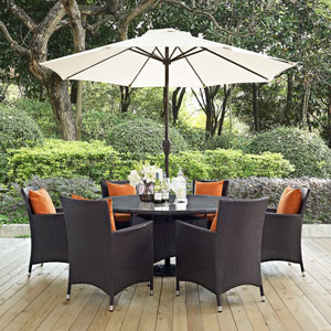 Convene 8 Piece Outdoor Patio Dining Set in Espresso Orange