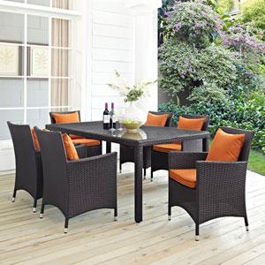 Convene 7 Piece Outdoor Patio Dining Set in Espresso Orange