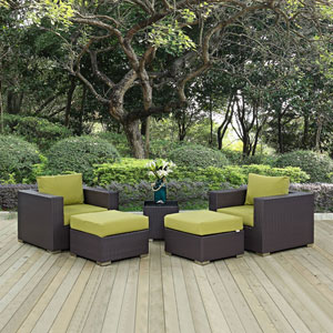 Convene 5 Piece Outdoor Patio Sectional Set in Espresso Peridot