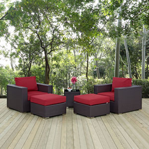 Convene 5 Piece Outdoor Patio Sectional Set in Espresso Red
