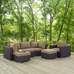 Convene 6 Piece Outdoor Patio Sectional Set in Espresso Mocha