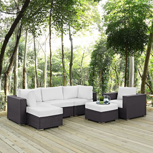 Convene 6 Piece Outdoor Patio Sectional Set in Espresso White
