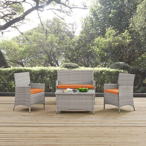 Bridge Outdoor Patio Conversation Set in Light Gray Orange