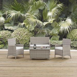 Bridge Outdoor Patio Conversation Set in Light Gray White