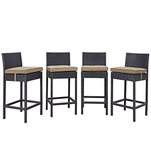 Convene 4 Piece Outdoor Patio Pub Set in Espresso Mocha