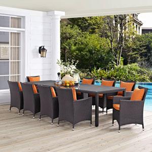 Convene 11 Piece Outdoor Patio Dining Set in Espresso Orange