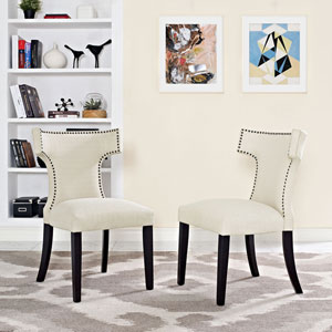 Curve Fabric Dining Chair in Beige