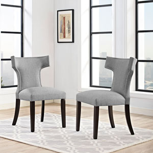 Curve Fabric Dining Chair in Light Gray