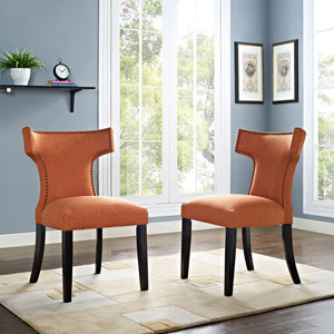 Curve Fabric Dining Chair in Orange