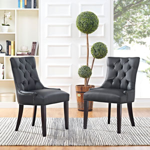 Regent Vinyl Dining Chair in Black