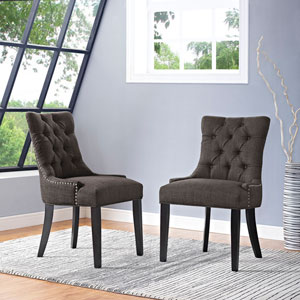 Regent Fabric Dining Chair in Brown
