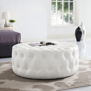 Amour Vinyl Ottoman in White