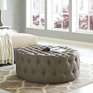 Amour Fabric Ottoman in Granite