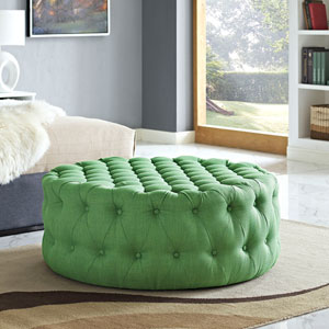 Amour Fabric Ottoman in Green