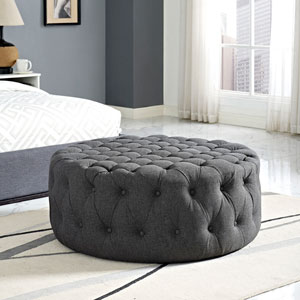 Amour Fabric Ottoman in Gray