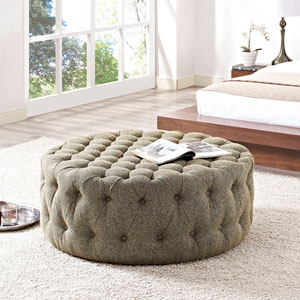 Amour Fabric Ottoman in Oatmeal