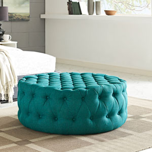 Amour Fabric Ottoman in Teal