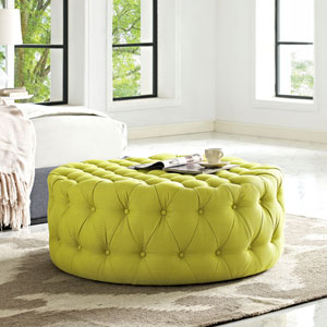 Amour Fabric Ottoman in Wheatgrass